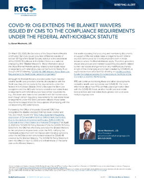 Alert - COVID-19 OIG Extends the Blanket Waivers Issued by CMS to the Compliance Requirements Under the Federal Anti-Kickback Statute-1