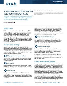 Administrative Consolidation Solutions in Healthcare