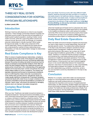 Cover BP - Three Key Real estate considerations for hospital-Physician Relationships