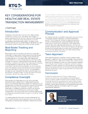 Cover BP - Key Considerations for Healthcare Real Estate Transaction Management